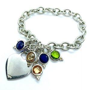Sterling Silver 925 Chain Link Heart Mom Bracelet